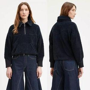 Levi's Sherpa Track Popover Women's Long Sleeve Sweatshirt Navy Size: Large NWT